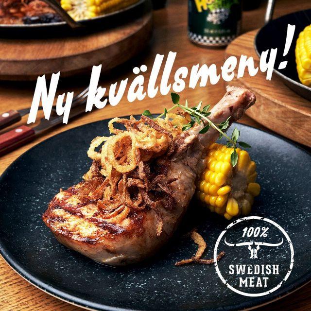 📣 BIG NEWS!! 📣 Vi har släppt en ny kvällsmeny & gått över till att endast servera 100% svenskt kött på alla våra restauranger 🥩Boka bord via länken i bion och testa vår nya kvällsmeny med nya fantastiska rätter och kött från Sverige🇸🇪
